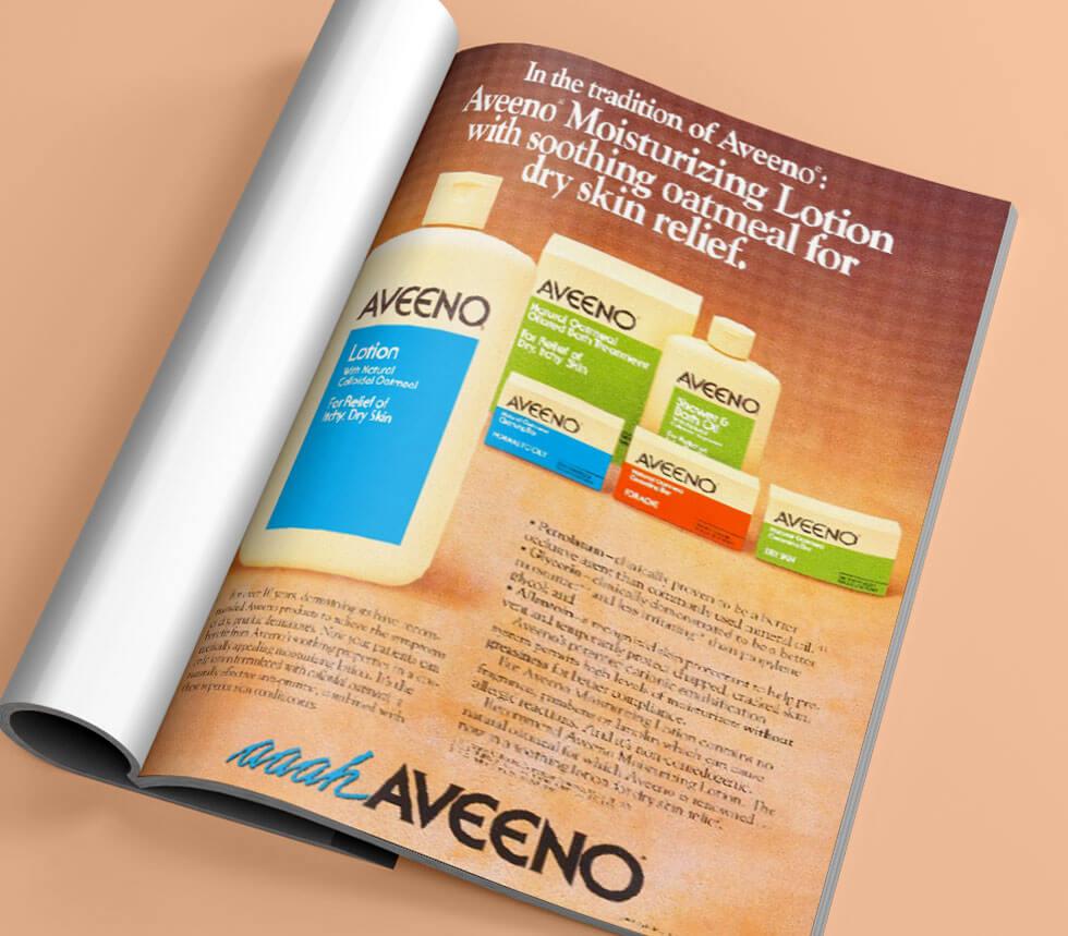 Revista sobre a história do Aveeno